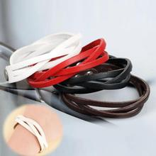 Fashion Simple Basic Twisted Leather Braided Bracelet Pu Leather Bracelets For Women Men 7 Colors