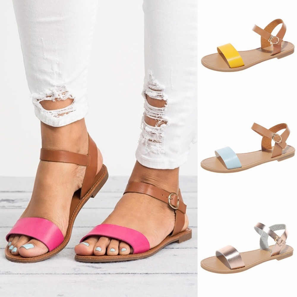 Summer Women's Ladies Roma Flat Mixed Color Peep Toe Sandals Casual Shoes women sandals genuine leather shoes women summer