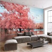 Fantasy pink tree elk landscape TV background wall professional production mural wholesale wallpaper custom photo