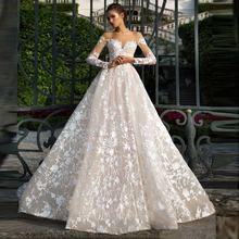 Свадебное платье с вырезом иллюзией длинными рукавами кружевной