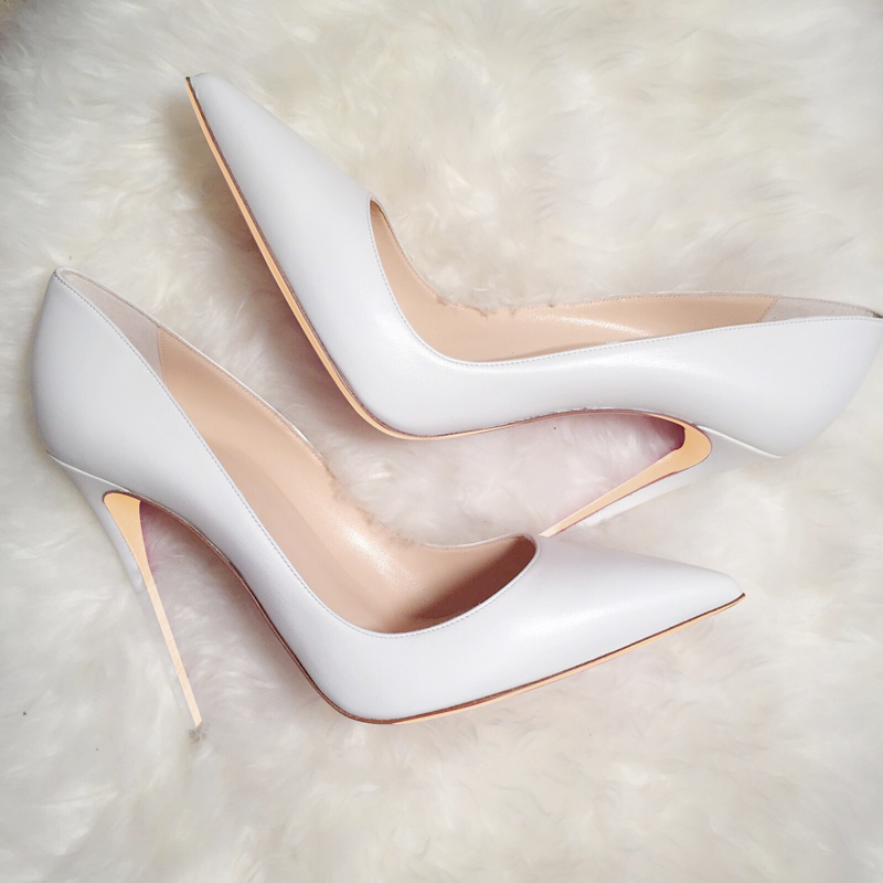 Free shipping fashion women Pumps white matt leather sexy lady Pointy toe high heels shoes size33-43 12cm 10cm 8cm party shoes