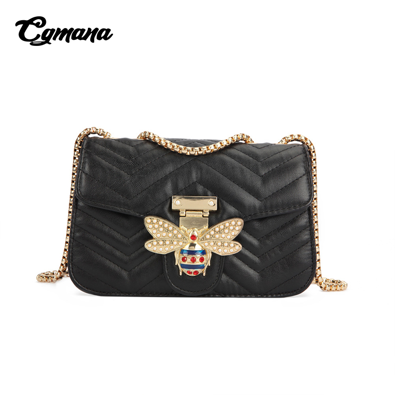 CGMANA Brand Chain Shoulder Bag For Women 2018 Luxury Handbags Women Bags Designer Famous Brand V Pattern Leather Bag Sac A Main in Shoulder Bags from Luggage Bags