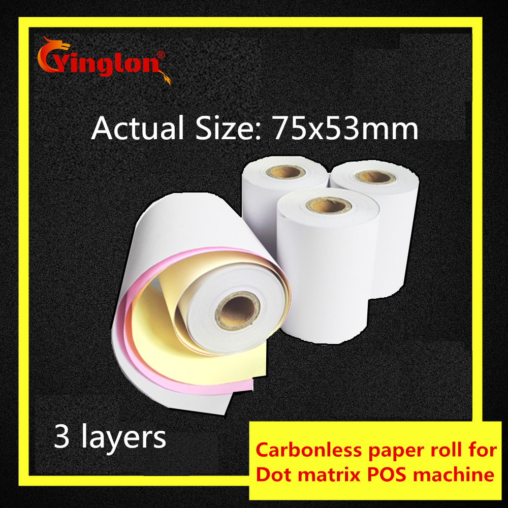 1pcs/lot 75x60mm Three Layers Cash Register Paper 3 Layer Carbonless Paper Roll For 75*60mm POS Cash Register Paper