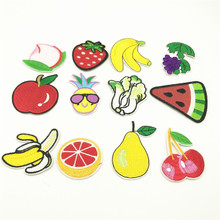 100pcs Fruits Patches Peach Banana Badges Clothing Patch Applique DIY Iron On Garment Apparel Accessory Sticker