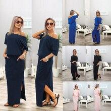 2019 For Women Summer Elegant Maxi Dress Slash Skin Care Neck Short Sleeve Casual Dress Loose