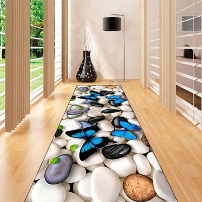 Else White Gray Stones On Blue Butterfly 3d Print Non Slip Microfiber Washable Long Runner Mats Floor Mat Rugs Hallway Carpets