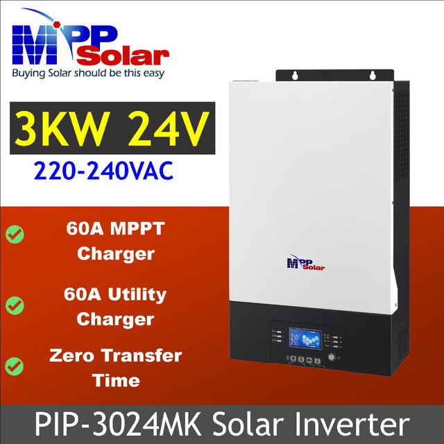 (MK) 3000w Solar inverter 230vac 24vdc + 60A MPPT solar charger + battery charger 60A + Zero Transfer Time