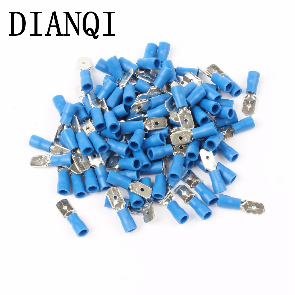 DIANQI MDD2-250 MDD2.5-250 male Insulated Spade Quick Connector Terminals Crimp Terminal AWG 100PCS/Pack MDD сумка kate spade new york wkru2816 kate spade hanna