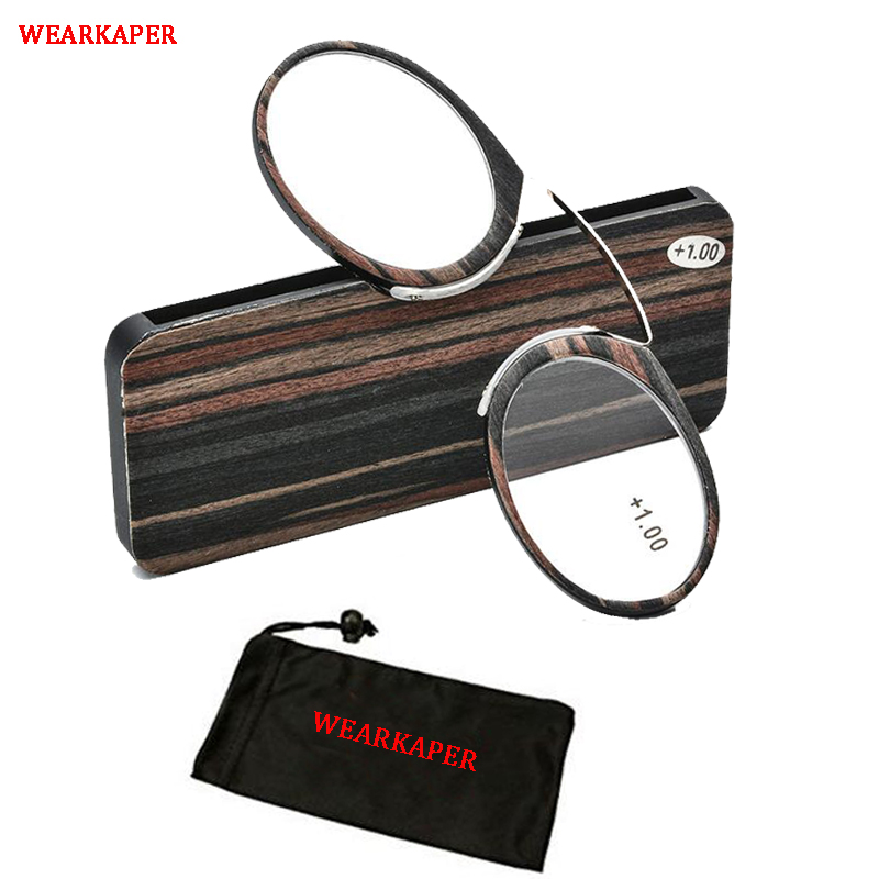 WEARKAPER TR90 Pince Nez Style Clamp Nose Resting Pinching Reading Glasses With No Temple Arms Readers For Men And Women 1.0-3.5
