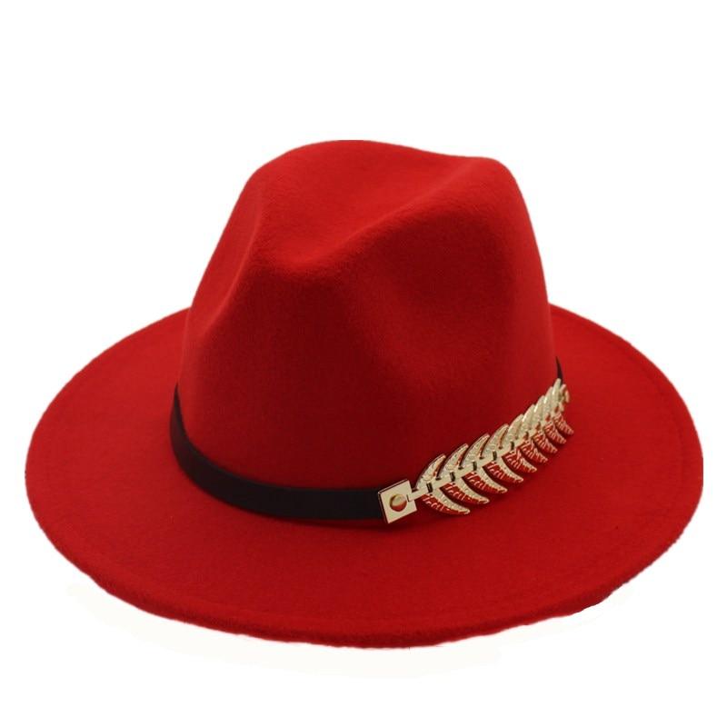 507f43cec HOT SALE] Seioum Leaf Felt Hat Men Fedora Hats with Belt Women ...