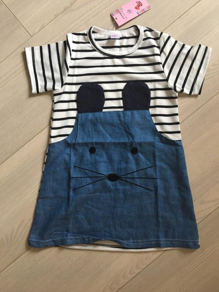 Cute Dress 2-7 Years Girls Summer Dresses Baby Girl O-neck Short/Long Sleeve Lovely Mouse Design Denim Dress for Girls Clothing