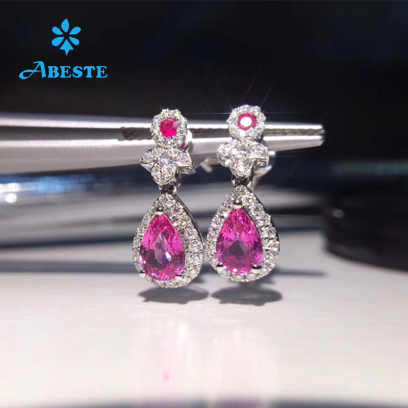 ANI 18K White Gold Women Wedding Stud Earrings Pear Shape 3.32 Carat Unheated Natural Pink Sapphire Lady Engagement Earrings