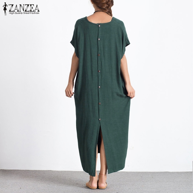 bb83ef0343 ZANZEA Fashion 2018 Women Summer Long Maxi Dress Sexy O Neck Short Sleeve  Back Buttons Split Hem Plus Size Loose Cotton Dresses