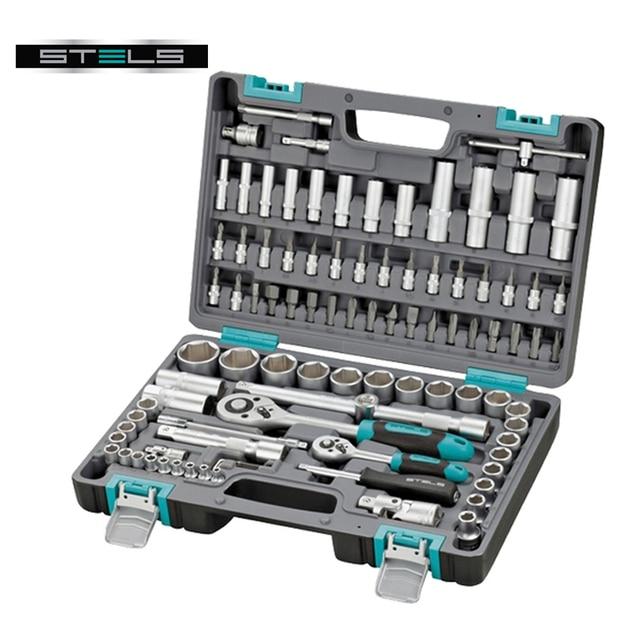Набор инструментов STELS 14106 (94 предмета, хром-ванадиевая сталь и сталь S2, трещоточные ключи, торцевые головки, биты и др., противоударный пластиковый кейс)