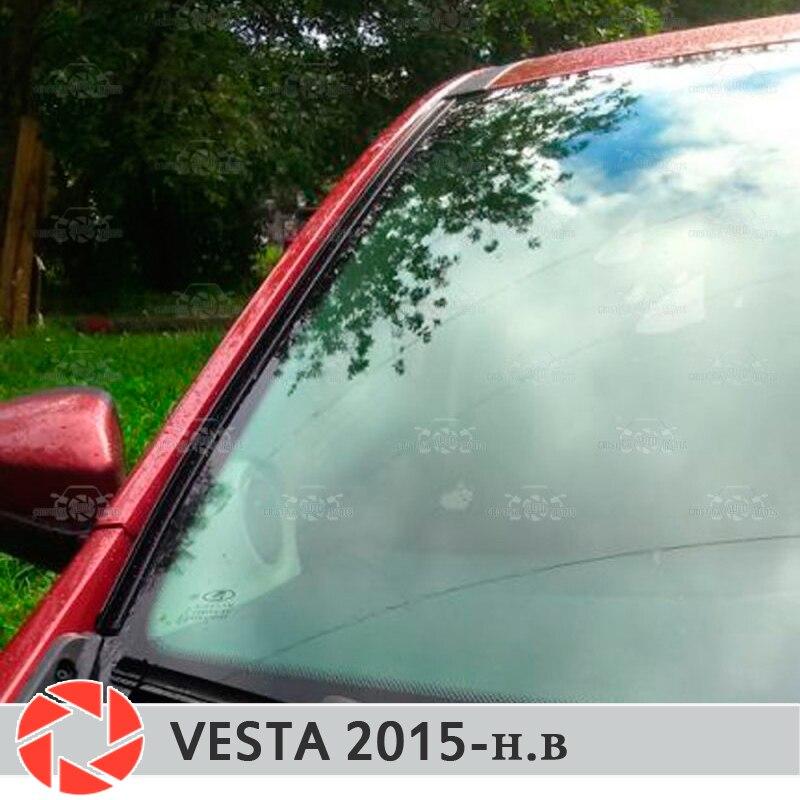 Para Lada Vesta 2015 pára-brisa defletores conjunto-2 1 pcs proteção aerodinâmica função de drenagem de chuva de cobertura estilo do carro pad