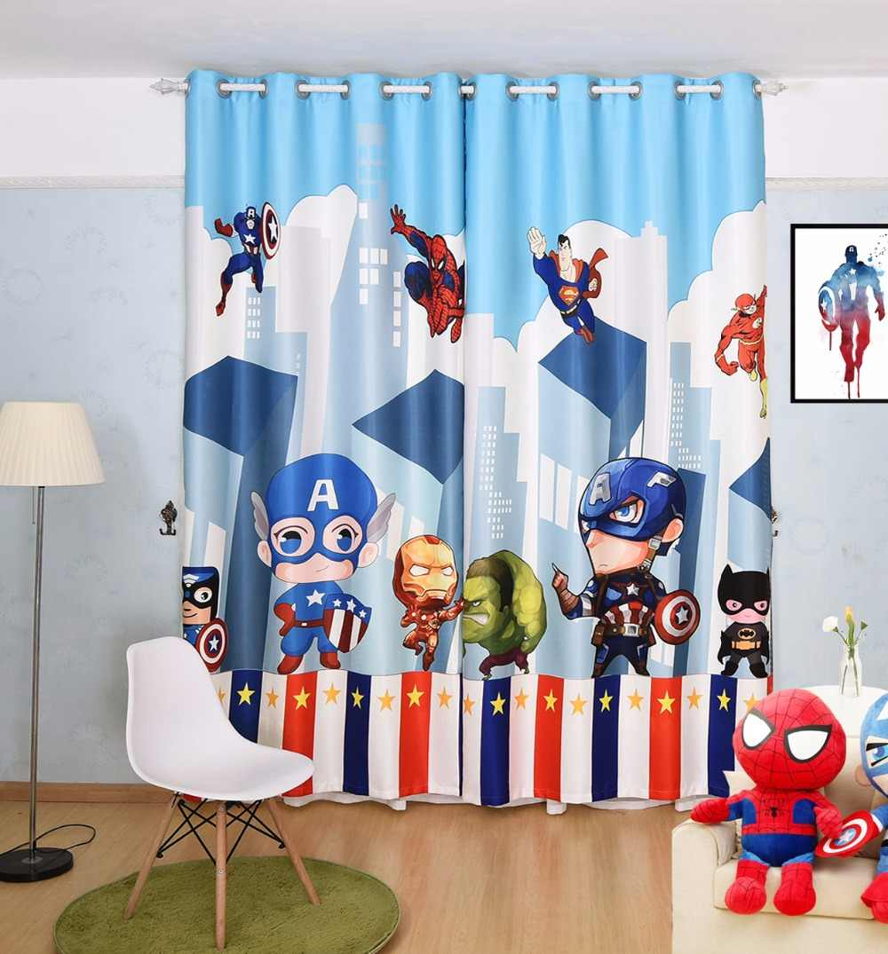 Custom Made 2x Window Drapery Nursery Kids Children Room Curtain Window Dressing Tulle Covering 200cm x 260cm Hero Man Blue
