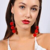 1Pair 3 Pompoms Plush Ball Multilayer Long Dangle Ear Drop Fashion Women Jewelry