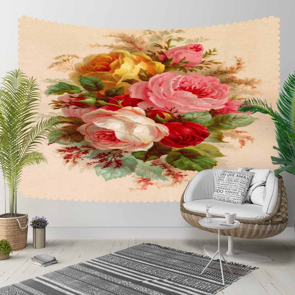 Else Brown Floor Pink Red Yellow Vintage Roses Retro 3D Print Decorative Hippi Bohemian Wall Hanging Landscape Tapestry Wall Art