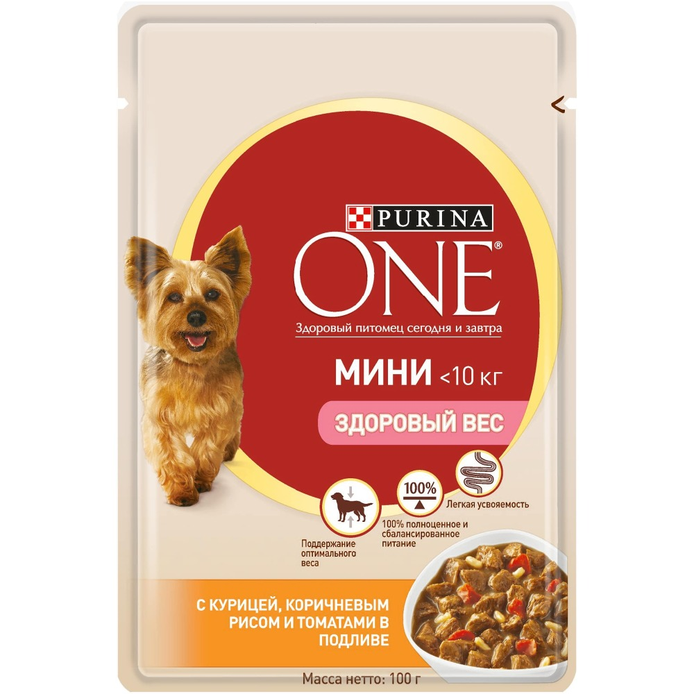 Wet food for dogs of small breeds Purina One Mini Adult with chicken, brown rice and tomatoes in gravy, pouch, 24x100 g.