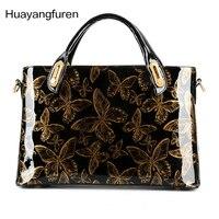 2017 Butterfly Patent Leather Shoulder Vintage Handbag Hard Messenger Women Bag Handbags High Quality Q4