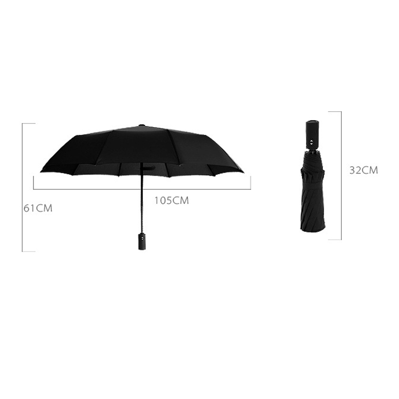 Image 2 - JPZYLFKZL Ten Bone Automatic Folding Umbrella Female Male Car Luxury Large Windproof Umbrella Umbrella Men Rain Black Paint-in Umbrellas from Home & Garden