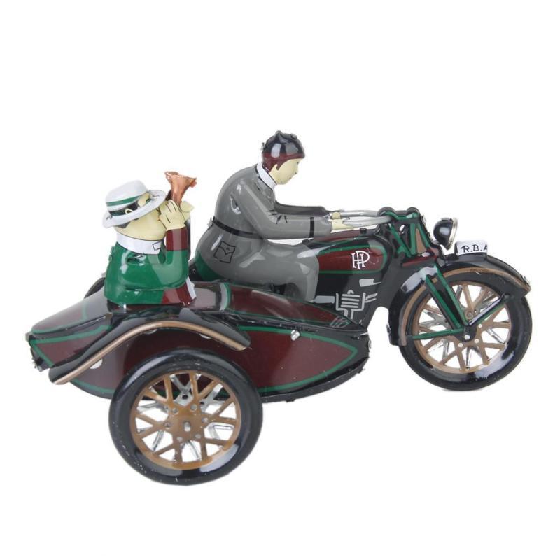 Vintage liquidation Parade moto et Sidecar horloge jouet étain cadeau de collection