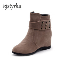 New Lady Fashion Woman Nubuck Leather Motorcycle Ankle Height Increasing 7 5cm Leisure Boots Spring Autumn