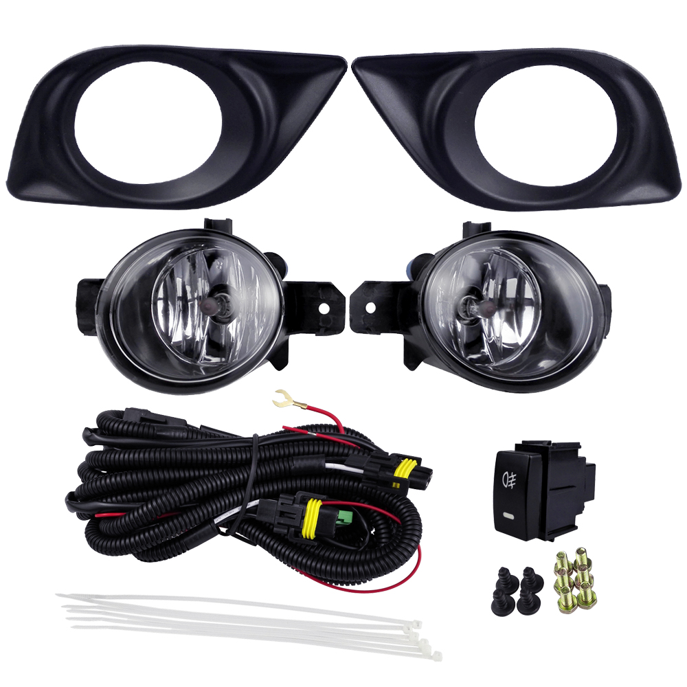 Car Fog Lamp Kits Headlight Decoration For Nissan Sunny 2012 Versa 2012 Automobile Styling Lights with Wires 4300K 12V 55W car accessories for nissan tiida latio 2005 2006 2007 2008 with wires harness switch fog light kits 12v 55w high power headlight