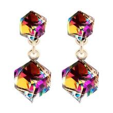 zheFanku Austrian Crystal Cube Stud Earrings Square Stud Earrings For Women Luxury Jewelry Gift Dropshipping Elegant Earrings