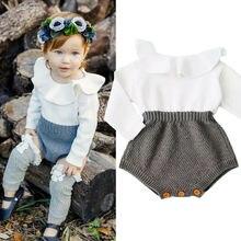 Новая брендовая Шерстяная Одежда для новорожденных девочек Вязаный комбинезон, осенняя одежда для малышей от 0 до 24 месяцев теплая вязаная одежда с длинными рукавами Повседневная одежда