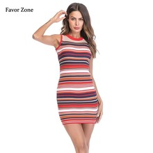 2019 Off Shoulder Striped Summer Bodycon Dress For Women Suspender Sexy Strap Knit Female Mini Dress Slim Fit Party Wrap Dresses