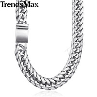 Trendsmax Hip Hop Iced Out Paved Rhinestones Cuban Chain Men's Necklace Chain 316L Stainless Steel Gold Silver KHNM22