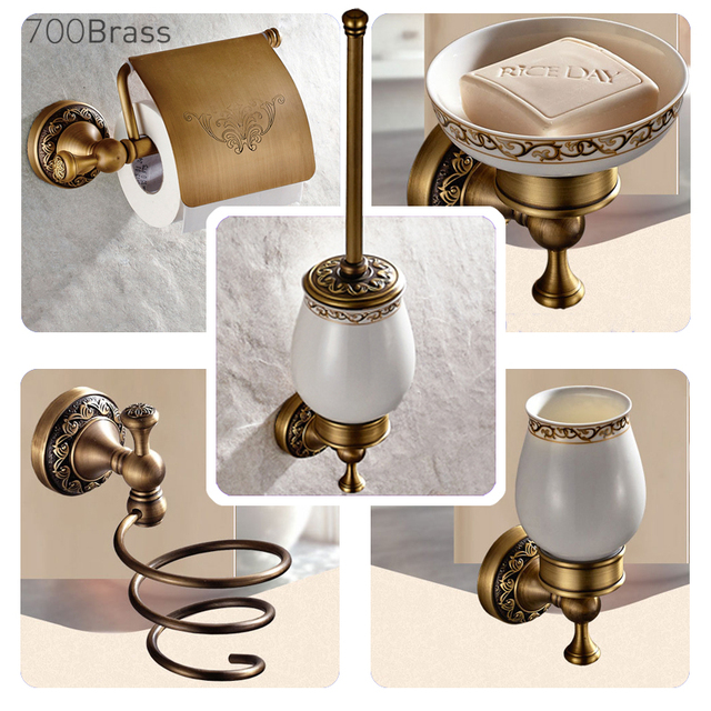 Bathroom Accessories Antique Brass Collection, All-In-One Package, Luxury Hotel Style, for Towel / Paper / Brush / Coat Holder
