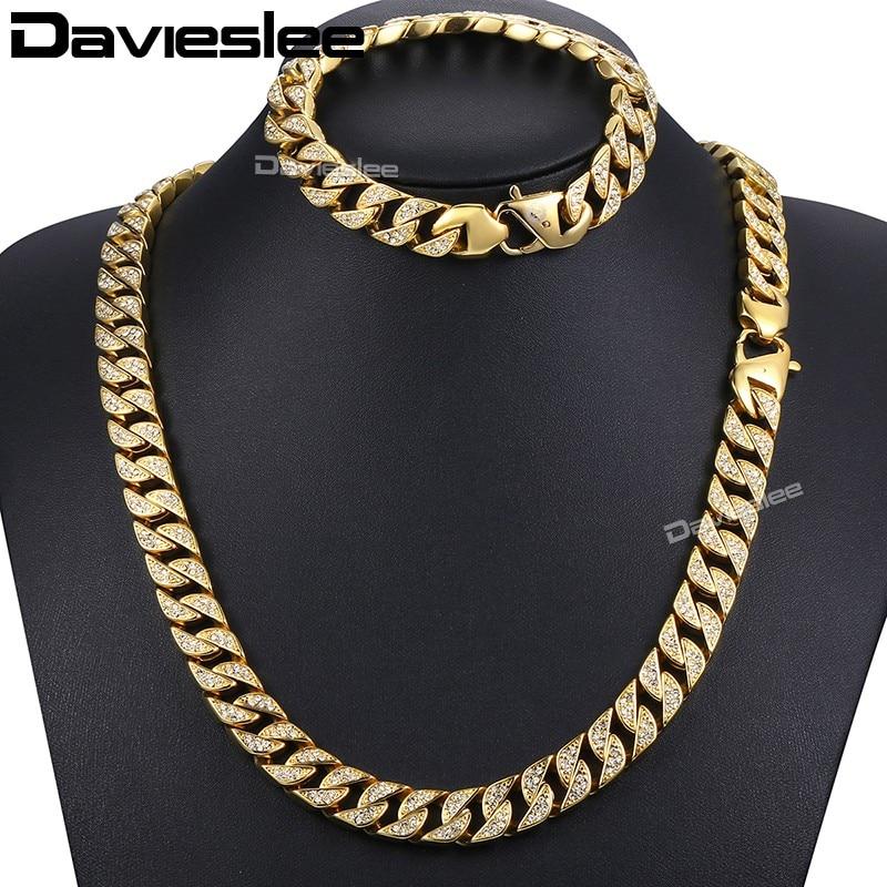 все цены на Davieslee Jewelry Set Paved Rhinestones CZ Miami Cuban Chain Men's Necklace Bracelet 316L Stainless Steel Gold 12mm DHS60 онлайн