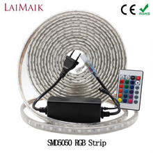 LAIMAIK RGB LED Strip Light Waterproof SMD5050 60leds/m led rgb strip lights with controller AC220V 3in1 chip IP67