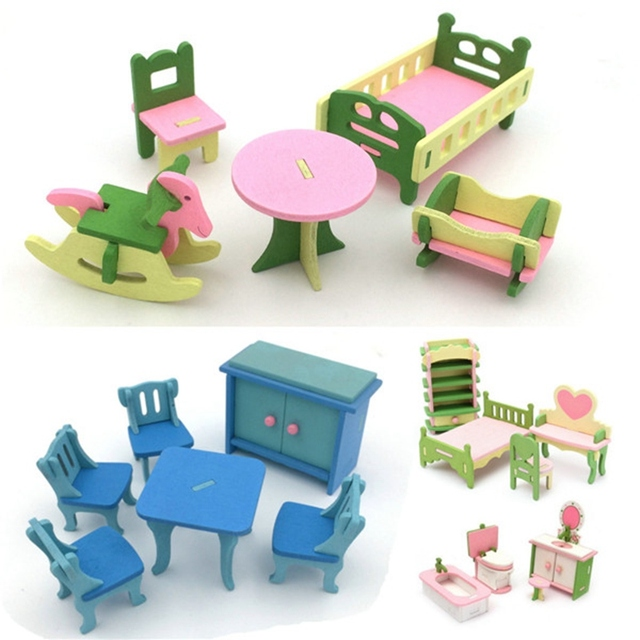 miniature wooden dollhouse furniture. New Arrival 4 Sets Of Delicate Wood Dollhouse Furniture Kits For Doll House Miniature Toy Wooden A