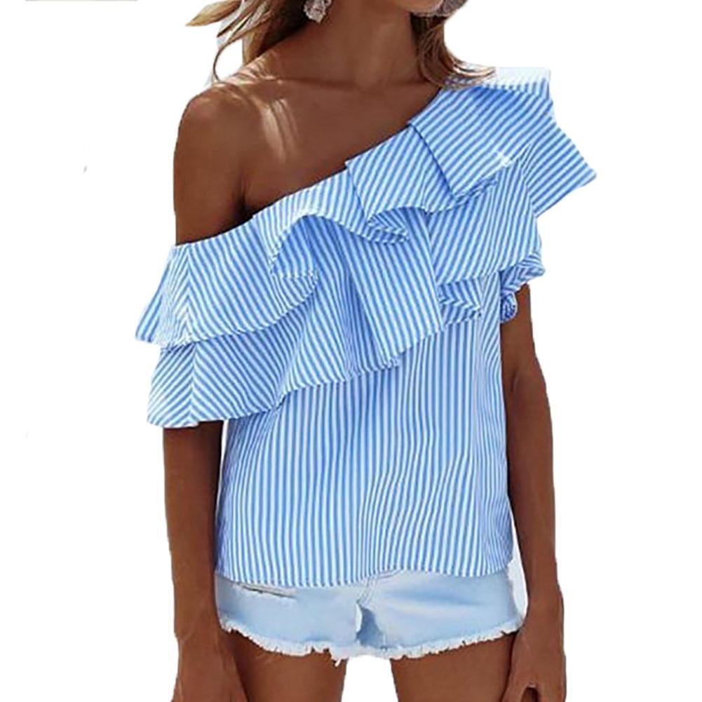 Women 2017 Fashion Slash Neck Ruffled Shirts Off Shoulder Summer Tops Blouse Female Elegant Office Shirt