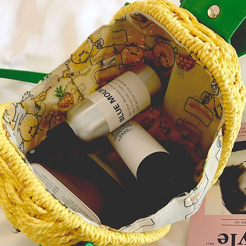 Women Pineapple Handbag Female Messenger Bags Straw Beach Crossbody Bag Lady Fashion Rattan Clutches Tote Knitted SS3010 (4)