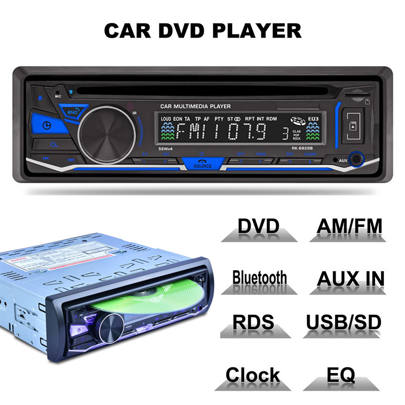 ESSGOO 1 Din Voiture Stéréo Audio Radios CD DVD Lecteur Bluetooth Mains Libres MP3 FM AM RDS 4x52 w AUX USB SD DC12V Autoradio Radio De Voiture