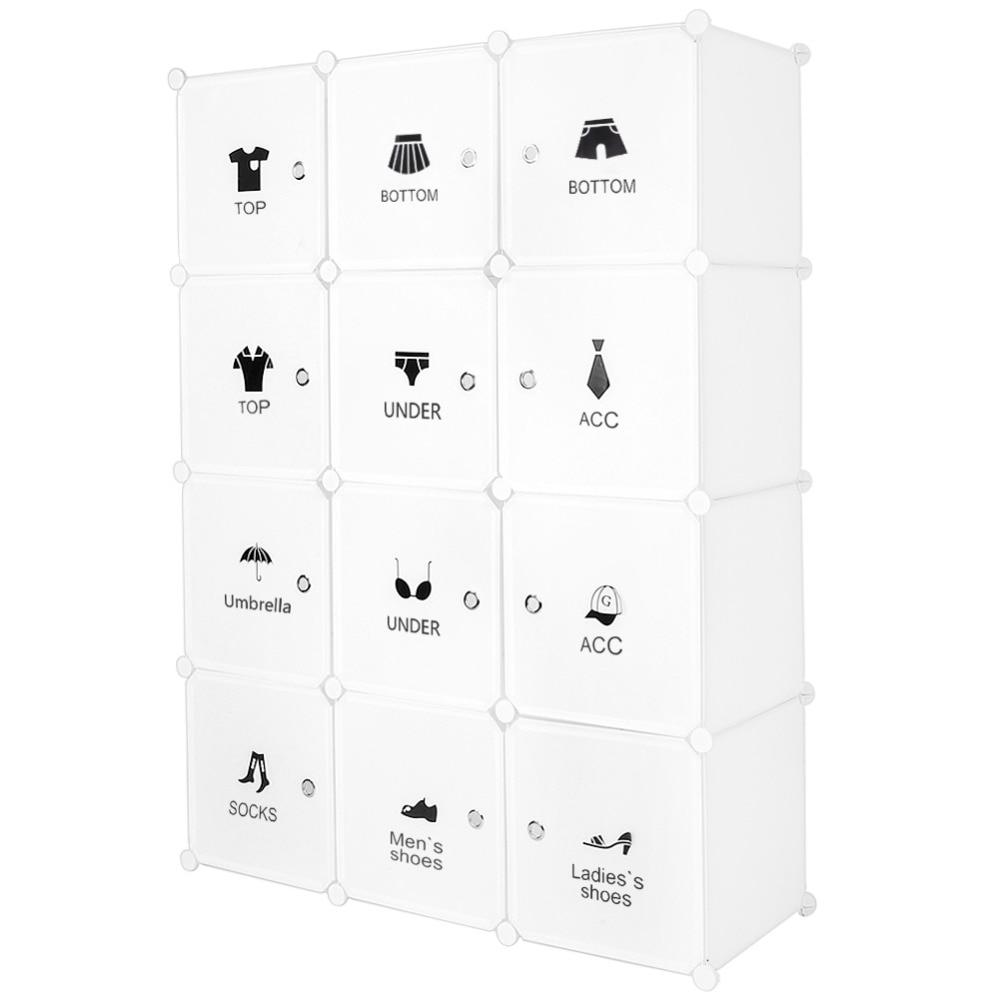 Plastic Wardrobe Cabinet Storage 12 Cube Interlocking