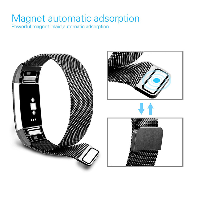 JKER Stainless Steel Magnetic Milanese Loop Band for Fitbit Charge 2 Replacement Wristband Strap for Fitbit Charge 3 Watchband 3