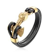 e1c0fca7b9fb TANGYIN gota encantos pulsera de cuero masculino ancla pulsera oro plata  León Lobo Acero inoxidable moda joyería para hombres