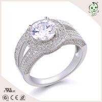 NEW Princess rhinestone zircon jewelry round fashion crystal bridal rings for women austrian 925 sterling silver rings