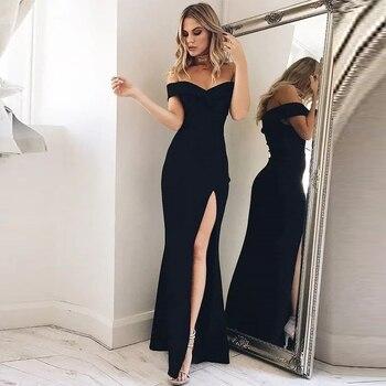 ea7e95cb96d7 Elegante vestido de fiesta largo 2019 cariño funda-la-piso-longitud hombro  volantes de satén vestido de noche vestidos de gala