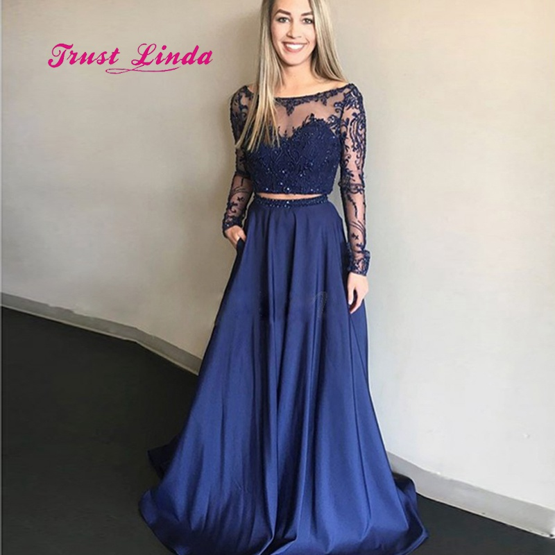 Vestiti Eleganti Donna Per Cerimonia.Beaded Two Piece Prom Dress Illusion Neck Long Sleeves Wedding