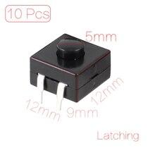цена на UXCELL _delete 10 Pcs 12X12x9mm Dip Pcb Latching Tactile Tact Push Button Switch _delete