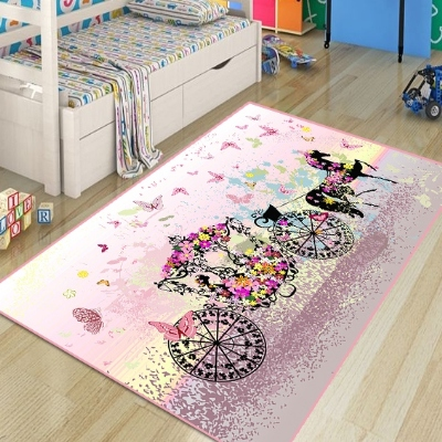 Else Pink Princess On Horse Cars Butterfly Girl 3d Print Non Slip Microfiber Children Kids Room Decorative Area Rug Kids  Mat