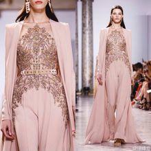 JUSERE Echt Bild 2019 Rosa Runway Abendkleid mit Hosen Lange Abendkleider Vestido de festa