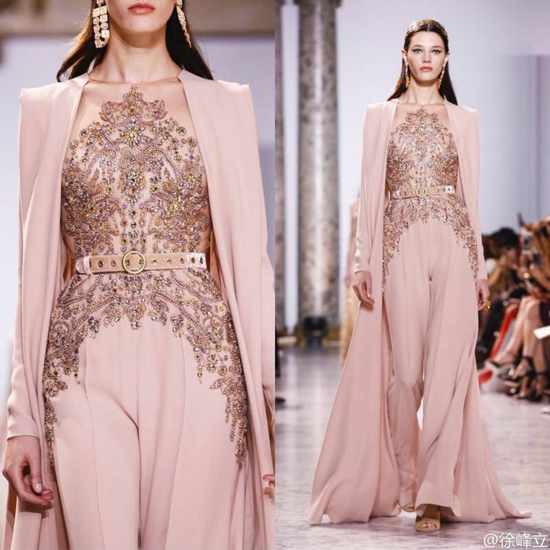 JUSERE Real Picture 2019 Pink Runway Evening Dress with Pants Long Evening Dresses Vestido de festaProm Dresses   -