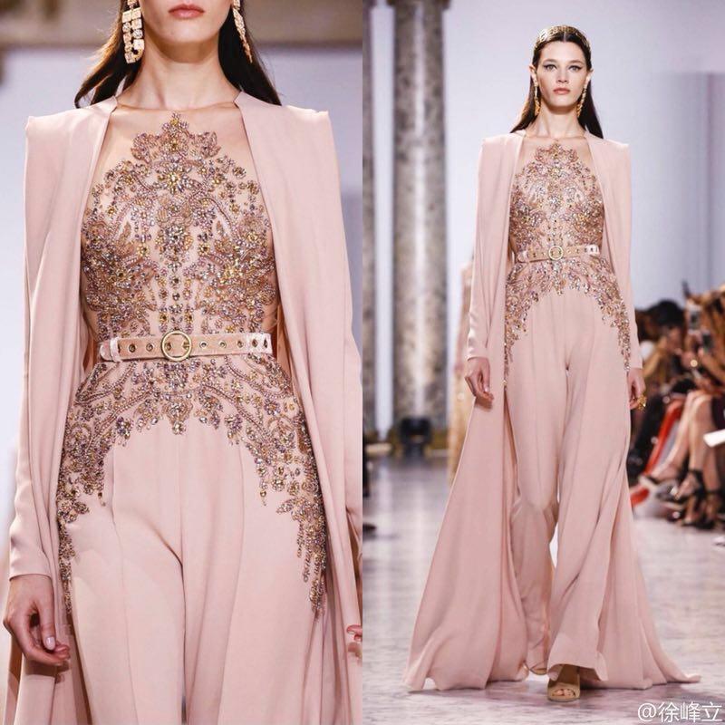 JUSERE Real Picture 2019 Pink Runway Evening Dress With Pants Long Evening Dresses Vestido De Festa